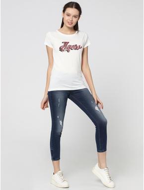 White Tiger Text Print T-Shirt