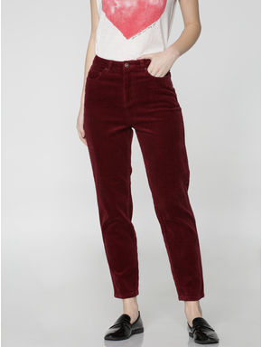 Maroon High Waist Regular Fit Corduroy Pants