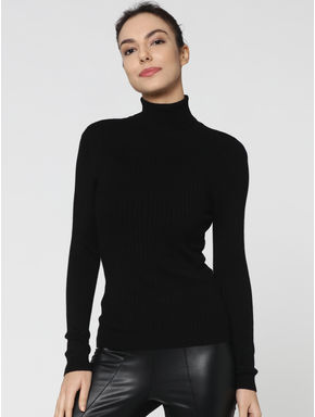 Black Stripped Long Sleeves High Neck Slim Fit Pullover