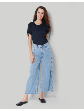 Light Blue High Rise Culottes Side Button Denim