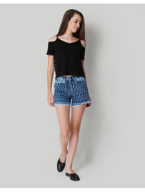 Blue Embroidered Mid Rise Denim Shorts
