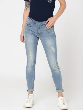 Light Blue Distressed Low Rise Skinny Jeans