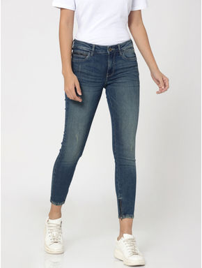 Blue Mid Rise Ankle Zip Skinny Fit Jeans