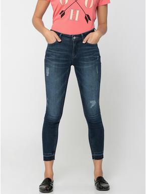 Dark Blue High-Waist Distressed Slim Fit Jeans