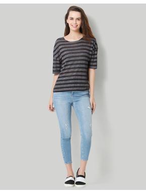 Dark Grey Striped T-Shirt
