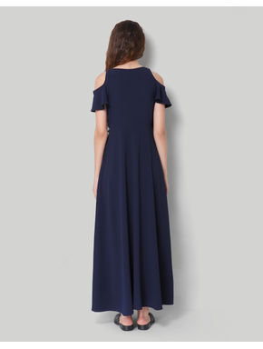 Blue Cold Shoulder Maxi Dress