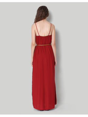 Red Strap Buttoned Maxi Dress