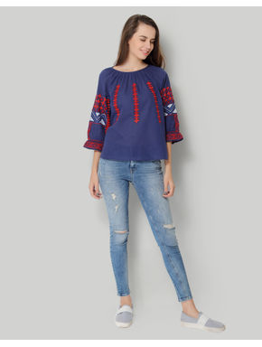 Blue Round Neck 3/4th Sleeve Embroidered Top