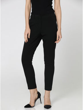 Black Mid-Rise Comfort Fit Stretch Pants