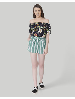 Turquoise Striped Mid Rise Slim Fit Shorts