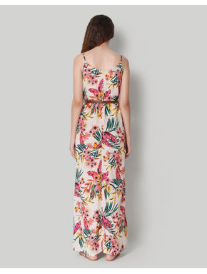 Pink Tropical Print Maxi Dress