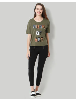 Olive Green Sequin Round Neck Tee