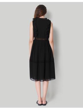 Black Sleeveless Ruffled Midi Dress