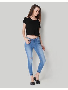 Light Blue Ankle Length Mid Rise Skinny Jeans