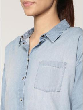 Blue High Low Denim Shirt