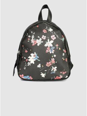 Black All Over Floral Print Backpack