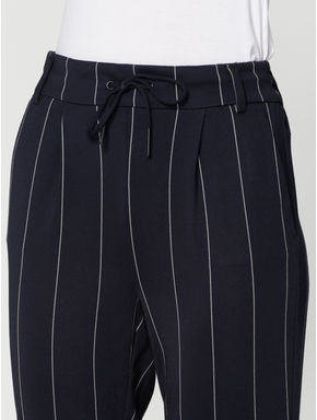 Blue Mid Rise Striped Drawstring Ankle Length Slim Fit Pants
