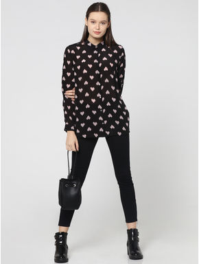 Black All Over Hearts Print Shirt