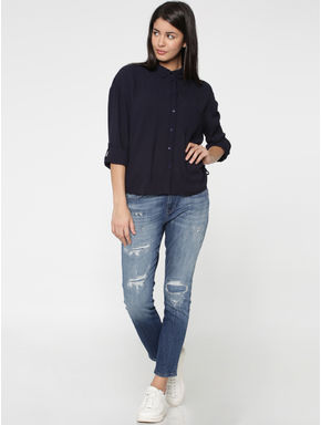 Dark Blue Drawstring Detail Shirt