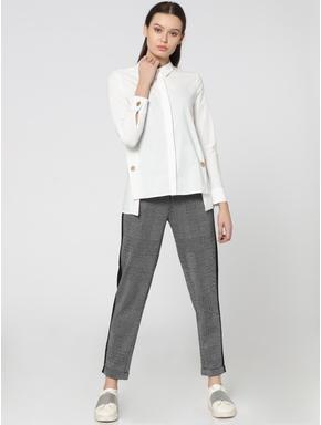 White High Low Button Detail Shirt