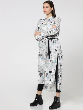 White Scribble Print Wrap Style Long Shirt
