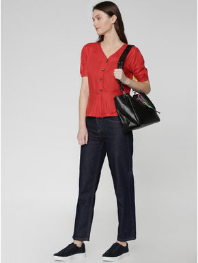 Red Short Sleeves Flared Top