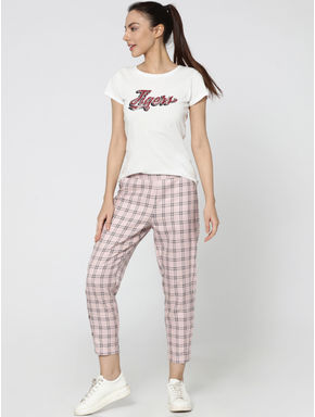 Pink Check Mid Rise Button Detail Slim Fit Pants