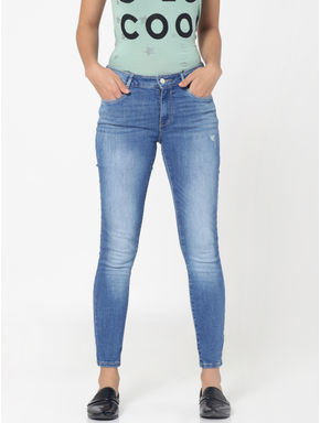 Blue Mildly Distressed Mid Rise Skinny Fit Jeans