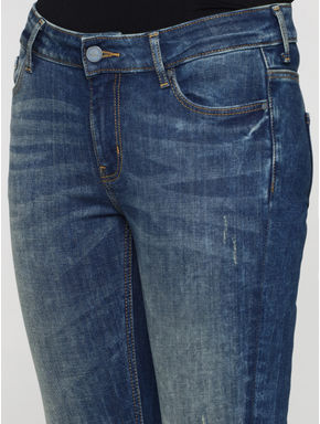 Blue Mid Rise Side Slit Cropped Skinny Fit Jeans