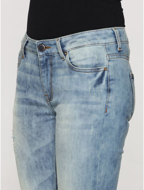 Light Blue Mid Rise Ripped Skinny Fit Jeans