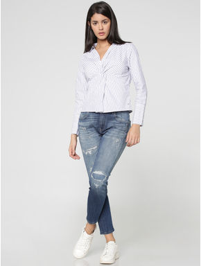 White Striped Twist Front Shirt