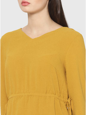 Mustard Drawstring Detail Top