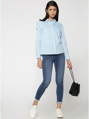 Light Blue Eyelet Detail Shirt