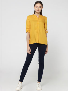 Yellow Mandarin Collar Dobby Weave Shirt