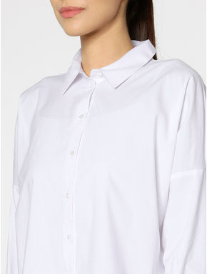 White Back Tape Detail High Low Shirt