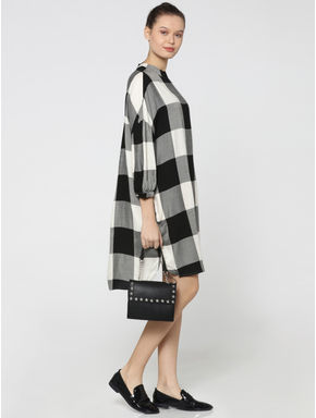 Black & White Buffalo Check Shift Dress