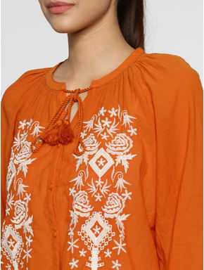 Orange Embroidered Shirt