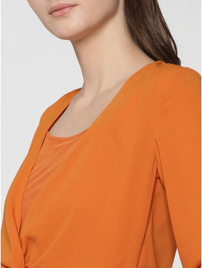 Orange Front Knot Cropped Top