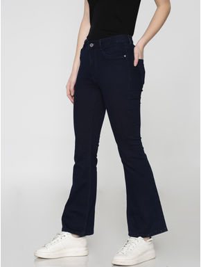 X Mickey Blue Mid Rise Boot Cut Regular Fit Jeans