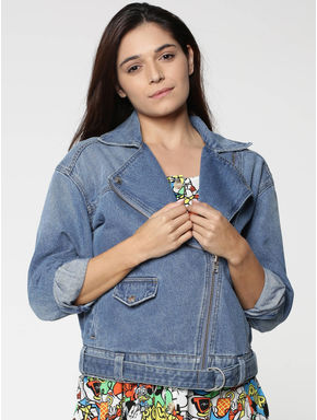 X Mickey Blue Text Print Denim Biker Jacket