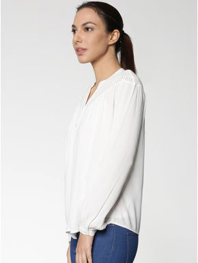 White Cut Work Embroidery Cuff Sleeves Top
