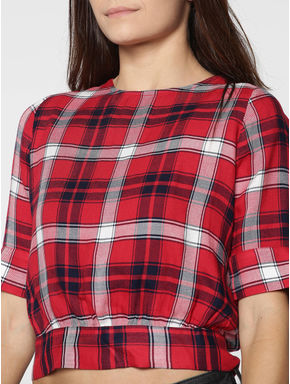 Red Checks Back Tie Top