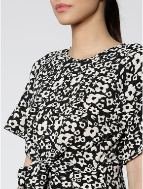 Black All Over Floral Print Front Knot Top