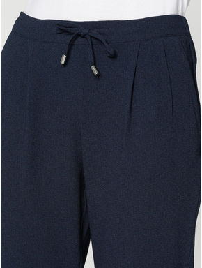 Navy Blue Mid Rise Drawstring Slim Fit Pants