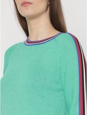Green Striped Sleeves Tape Detail Slim Fit Pullover