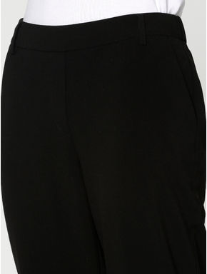 Black Mid Rise Elasticated Waist Slim Fit Pants