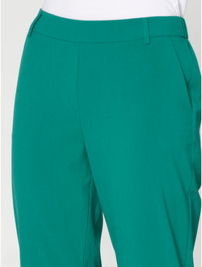 Green Mid Rise Elasticated Waist Slim Fit Pants