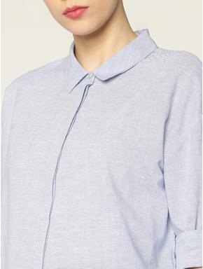 Light Blue Cut Work Embroidery Hem Shirt