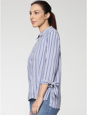 Blue Striped Tie Up Sleeves Shirt