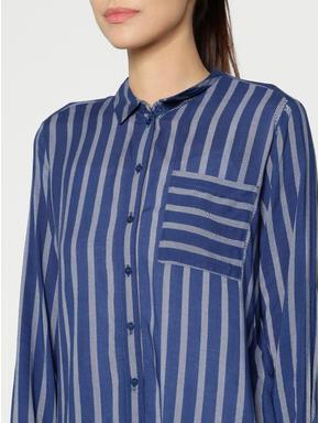 Blue Colour Blocked Striped Shirt